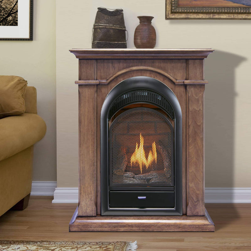 Bluegrass Living Vent Free Natural Gas Fireplace System - 10,000 BTU, T-Stat Control, Toasted Almond Finish - Model