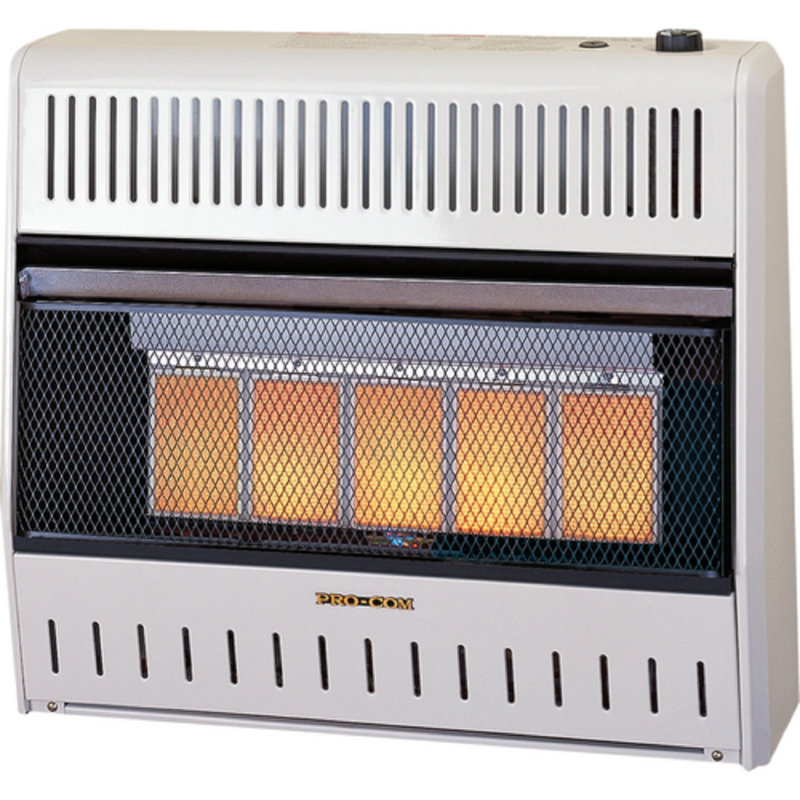 ProCom Reconditioned Ventless Natural Gas Wall Heater - 5 Plaque, 30,000 BTU, Manual Control - Model