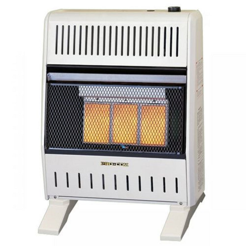 ProCom Dual Fuel Ventless Infrared Gas Space Heater With Blower and Base Feet - 20,000 BTU, T-Stat Control - Model