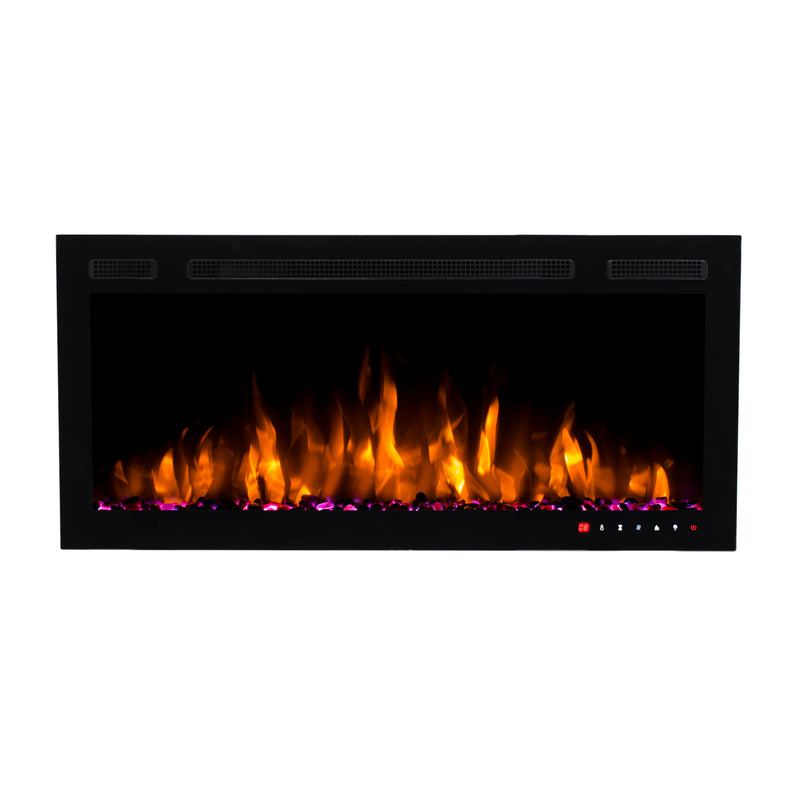 Bluegrass Living Slimline 36 Inch Wall Mount and Recessed Electric Fireplace - Model