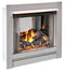Duluth Forge Ventless Stainless Outdoor Gas Fireplace Insert With Glass Media and Log Set - 24,000 BTU, Manual Control - Model