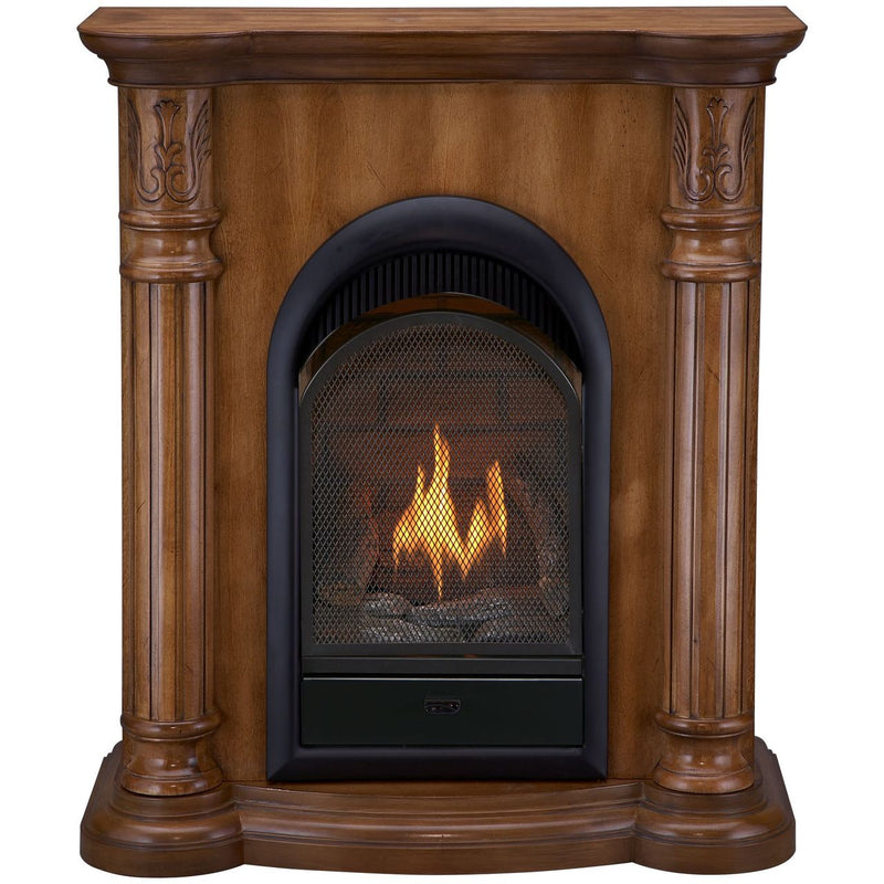 Bluegrass Living Vent Free Propane Gas Fireplace System - 10,000 BTU, T-Stat Control, Light Maple Finish - Model