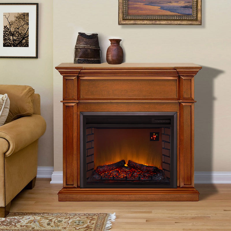 Duluth Forge Full Size Electric Fireplace - Remote Control, Apple Spice Finish - Model