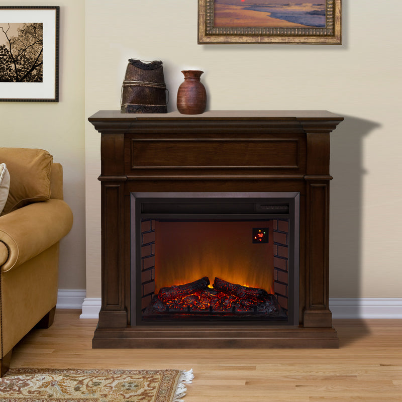 Duluth Forge Full Size Electric Fireplace - Remote Control, Walnut Finish - Model