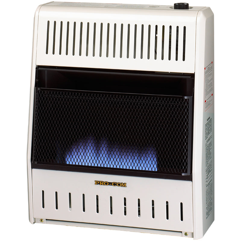 ProCom Dual Fuel Ventless Blue Flame Gas Space Heater - 20,000 BTU, T-Stat Control - Model