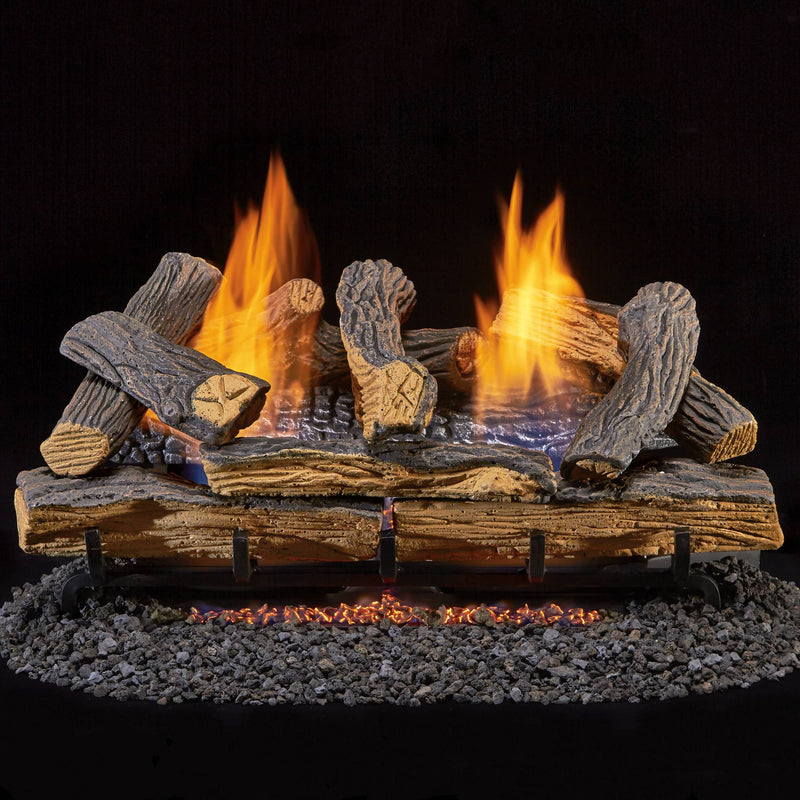 Duluth Forge Ventless Natural Gas Log Set - 24 in. Split Red Oak 33,000 BTU, Manual Control - Model
