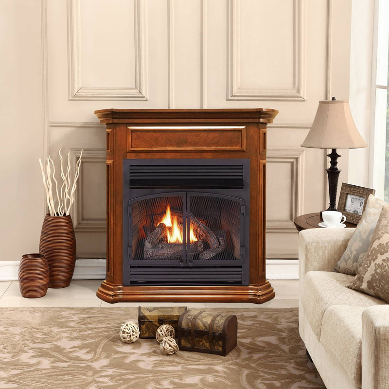 ProCom Dual Fuel Vent Free Gas Fireplace System - 32,000 BTU, T-Stat Control, Apple Spice Finish - Model