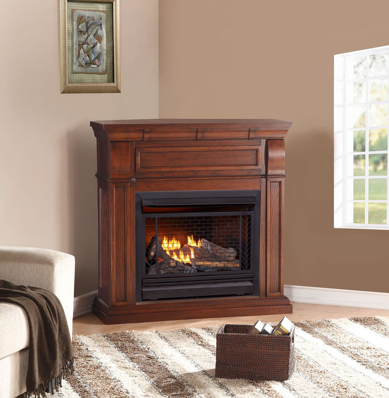 Bluegrass Living Vent Free Natural Gas Fireplace System - 26,000 BTU, Remote Control, Chestnut Oak Finish - Model