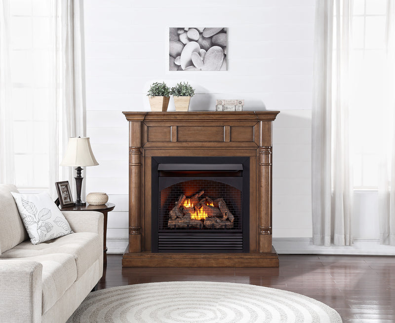 ProCom Full Size Dual Fuel Ventless Gas Fireplace With Mantel - 32,000 BTU, Remote Control, Walnut Finish - Model