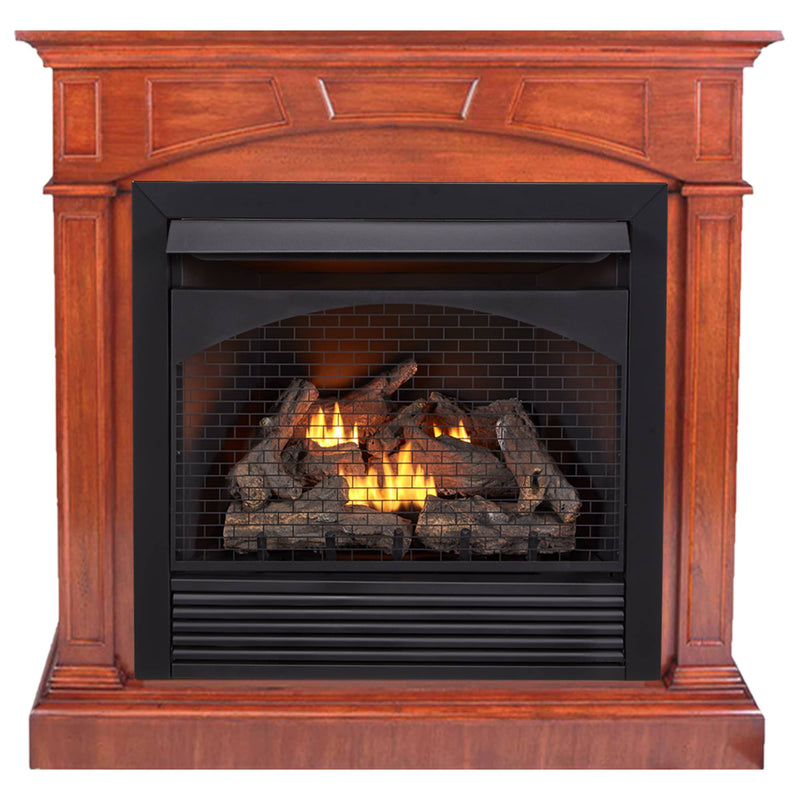 ProCom Dual Fuel Ventless Gas Fireplace With Mantel - 32,000 BTU, Remote Control, Heritage Cherry Finish - Model