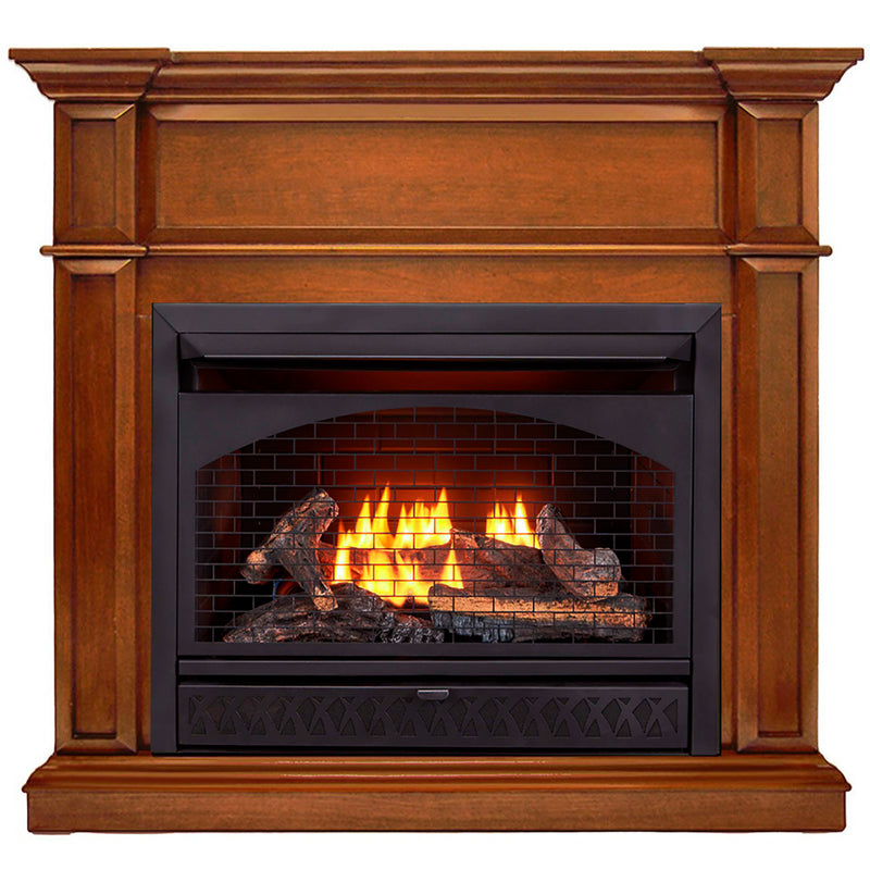 ProCom Dual Fuel Vent Free Gas Fireplace System - 26,000 BTU, T-Stat Control, Apple Spice Finish - Model