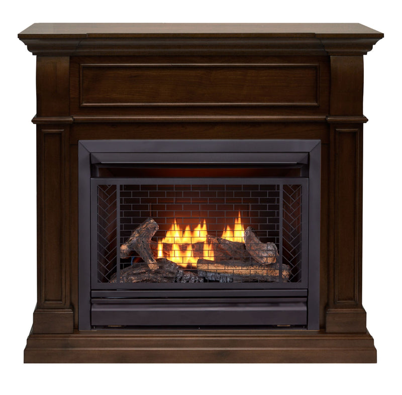 Bluegrass Living Vent Free Natural Gas Fireplace System - 26,000 BTU, Remote Control, Walnut Finish - Model