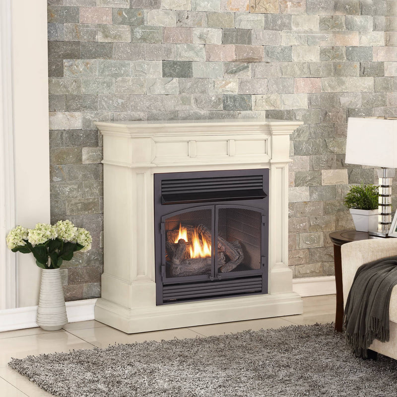 ProCom Dual Fuel Vent Free Gas Fireplace System - 32,000 BTU, T-Stat Control, Antique White Finish - Model