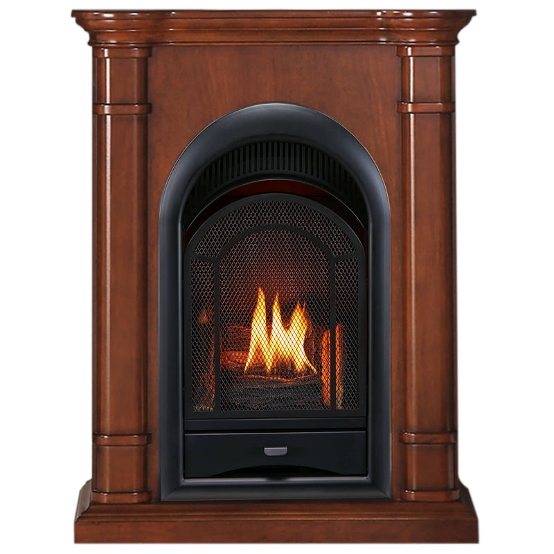 ProCom Dual Fuel Vent Free Gas Fireplace System - 15,000 BTU, T-Stat Control, Apple Spice Finish - Model