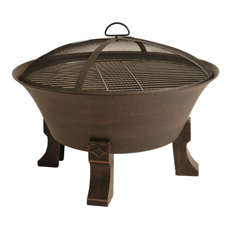 Bluegrass Living 26 Inch Cast Iron Deep Bowl Fire Pit with Cooking Grid, Weather Cover, Spark Screen, and Poker - Model