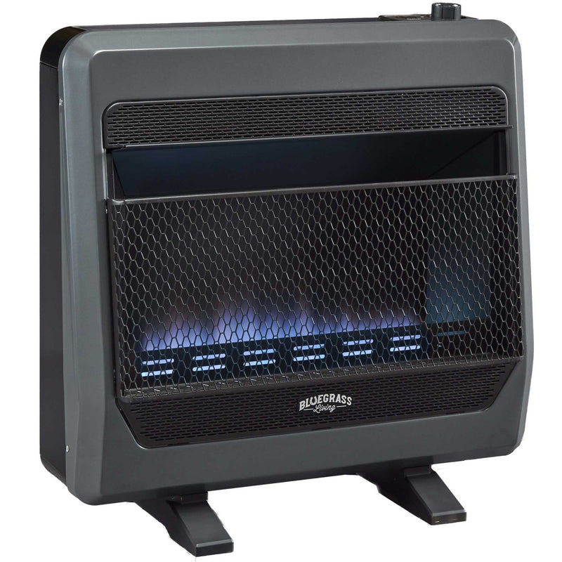 Bluegrass Living Propane Gas Vent Free Blue Flame Gas Space Heater With Blower and Base Feet - 30,000 BTU, T-Stat Control - Model