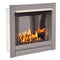 Bluegrass Living Stainless Outdoor Gas Fireplace Insert With Reflective Black Glass Media - 24,000 BTU, Manual Control - Model# BL450SS-G-RBLK