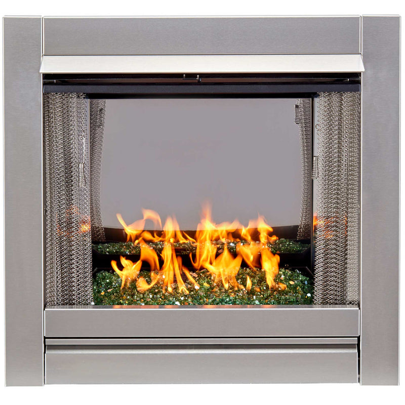 Duluth Forge Ventless Stainless Outdoor Gas Fireplace Insert With Reflective Emerald Glass Media - 24,000 BTU, Manual Control - Model