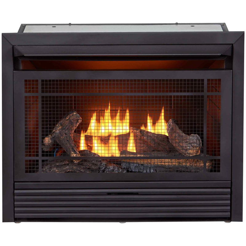Duluth Forge Reconditioned Dual Fuel Ventless Gas Fireplace Insert - 26,000 BTU, Inside With Brown Color Firebox, Remote Control - Model