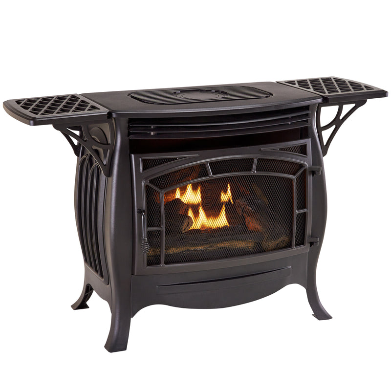 Duluth Forge Dual Fuel Ventless Gas Stove - 26,000 BTU, Remote Control, Matte Black Finish - Model