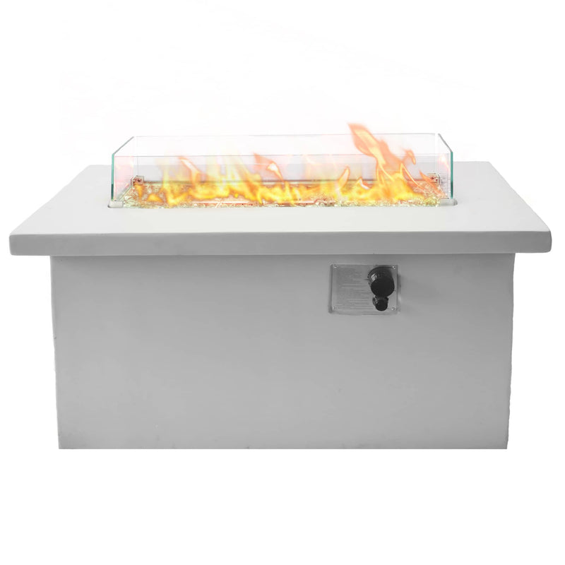 Bluegrass Living 42 Inch x 20 Inch Rectangular MGO Propane Fire Pit Table with Glass Wind Guard, Crystal Glass Beads, Fabric Cover, and Concrete Finish - Model