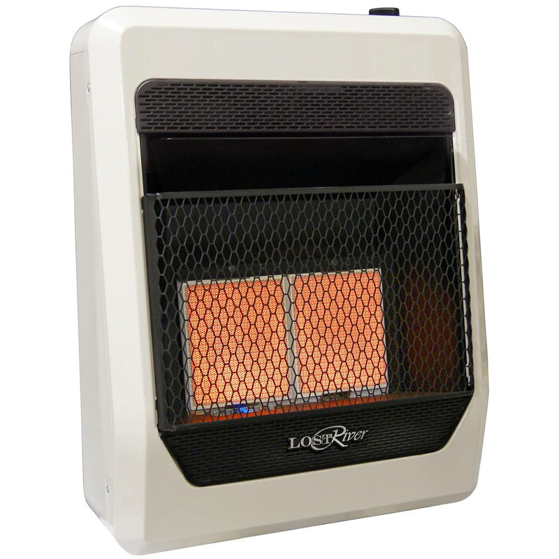 Lost River Liquid Propane Gas Ventless Infrared Radiant Plaque Heater - 18,000 BTU, T-Stat Control - Model