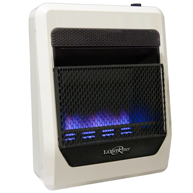 Lost River Liquid Propane Gas Ventless Blue Flame Gas Space Heater - 20,000 BTU, T-Stat Control - Model