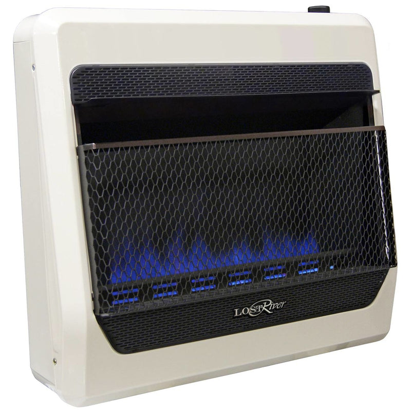 Lost River Liquid Propane Gas Ventless Blue Flame Gas Space Heater - 30,000 BTU, T-Stat Control - Model