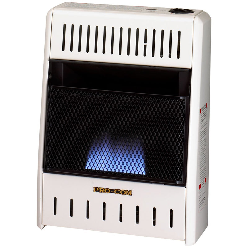 ProCom Ventless Liquid Propane Gas Blue Flame Space Heater - 10,000 BTU, Manual Control - Model