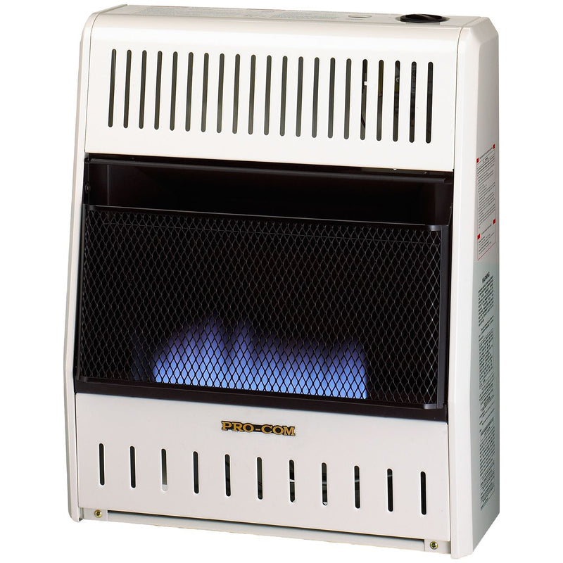 ProCom Ventless Liquid Propane Gas Blue Flame Space Heater - 20,000 BTU, Manual Control - Model