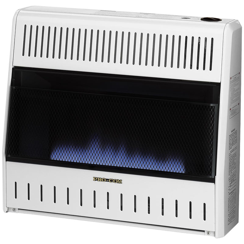 ProCom Ventless Natural Gas Blue Flame Space Heater - 30,000 BTU, Manual Control - Model