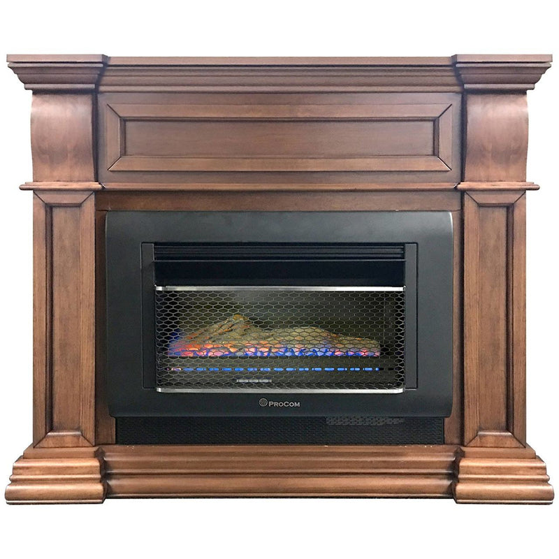 ProCom Mini Hearth Ventless Gas Wall Fireplace - 26,000 BTU, T-Stat Control, Toasted Almond Finish - Model