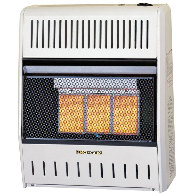 ProCom MN180HPA Ventless Natural Gas Wall Heater - 3 Plaque, 18,000 BTU, Manual Control - Model