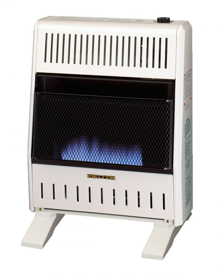 ProCom Dual Fuel Ventless Blue Flame Gas Space Heater With Blower and Base Feet - 20,000 BTU, T-Stat Control - Model