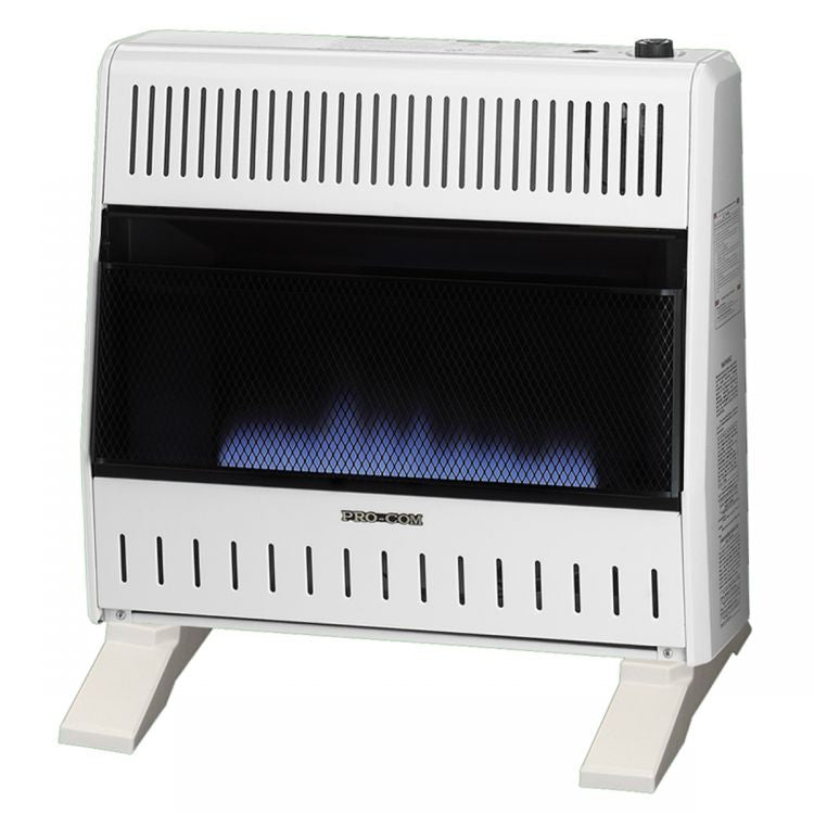 ProCom Dual Fuel Ventless Blue Flame Gas Space Heater With Blower and Base Feet - 30,000 BTU, T-Stat Control - Model