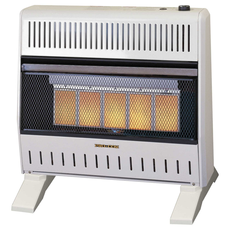 ProCom Dual Fuel Ventless Infrared Gas Space Heater With Blower and Base Feet - 30,000 BTU, T-Stat Control - Model