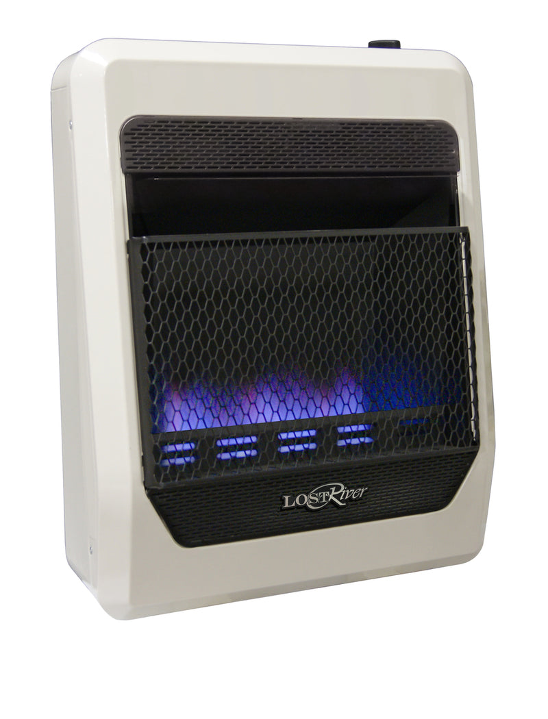 Lost River Dual Fuel Ventless Blue Flame Gas Space Heater - 20,000 BTU, T-Stat Control - Model