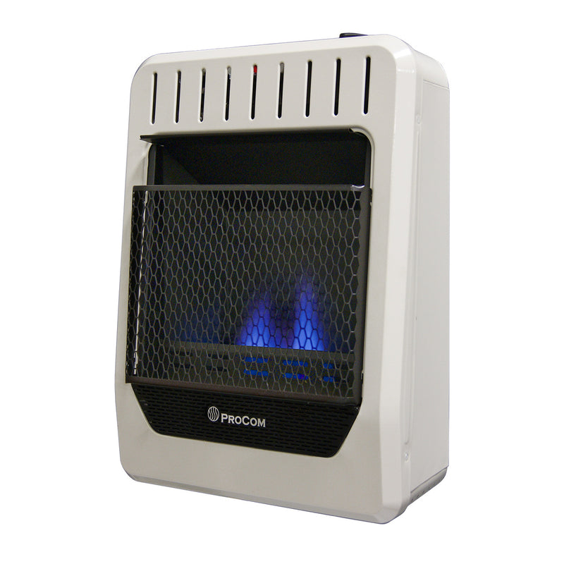 ProCom Dual Fuel Ventless Blue Flame Heater - 10,000 BTU, Manual Control - Model