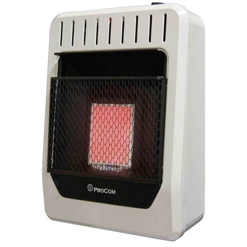 ProCom Dual Fuel Ventless Infrared Plaque Heater - 10,000 BTU, T-Stat Control - Model