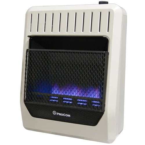 ProCom Reconditioned Ventless Dual Fuel Blue Flame Wall Heater - 20,000 BTU, T-Stat Control - Model