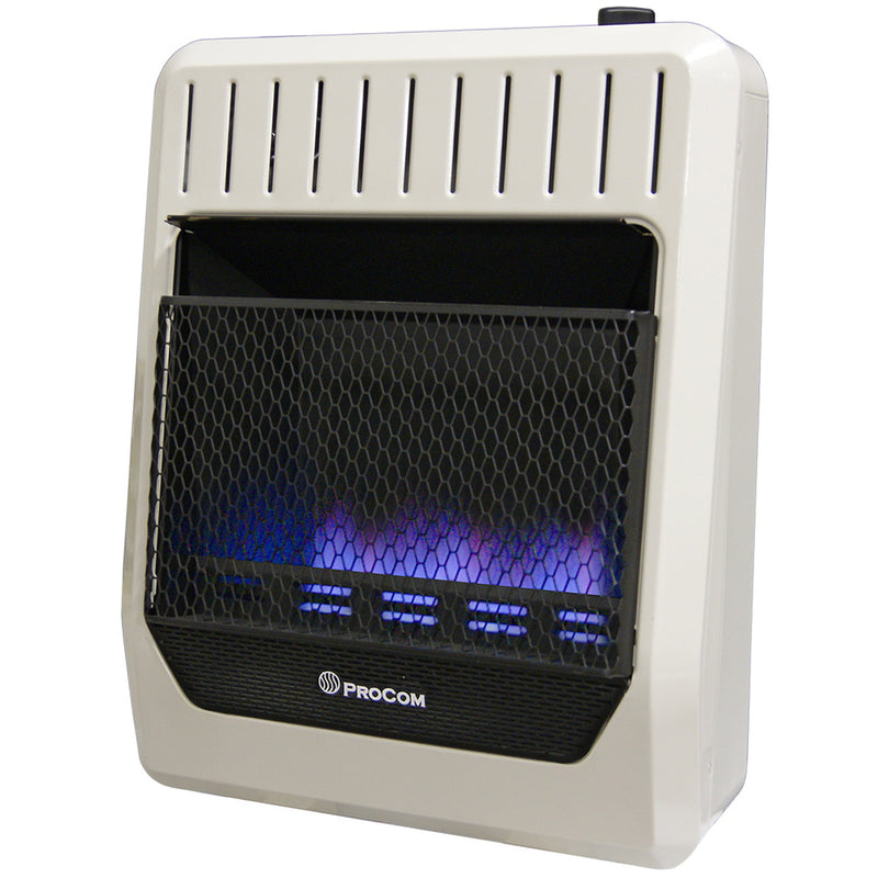 ProCom Ventless Dual Fuel Blue Flame Wall Heater - 20,000 BTU, T-Stat Control - Model