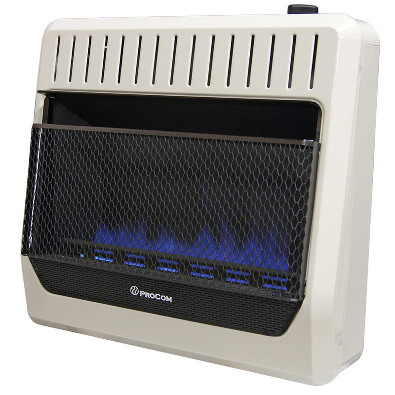 ProCom Ventless Dual Fuel Blue Flame Wall Heater - 30,000 BTU, T-Stat Control - Model