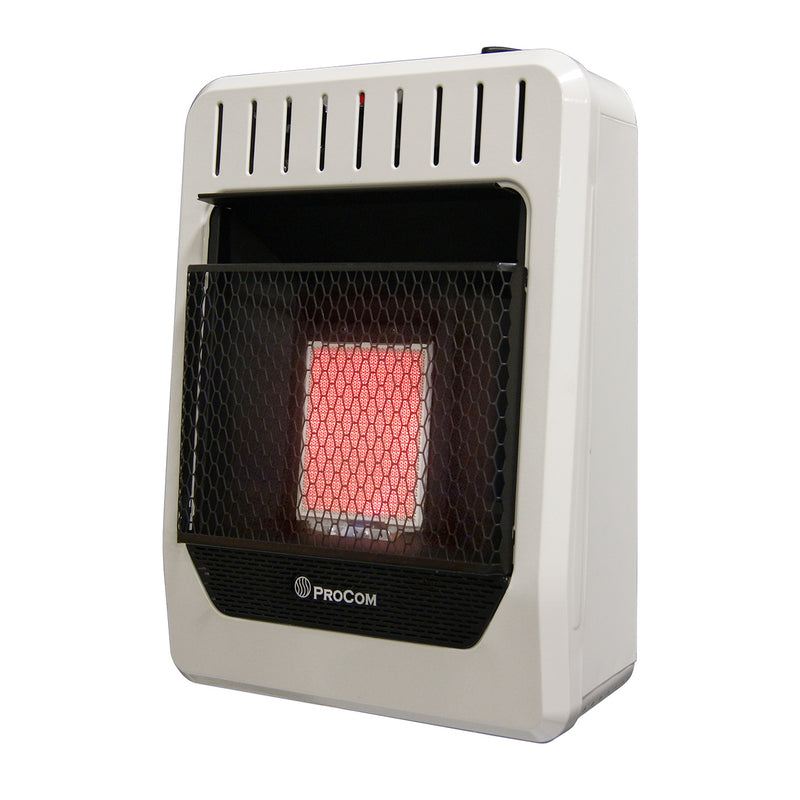 ProCom Propane Gas Ventless Infrared Plaque Heater - 10,000 BTU, Manual Control - Model