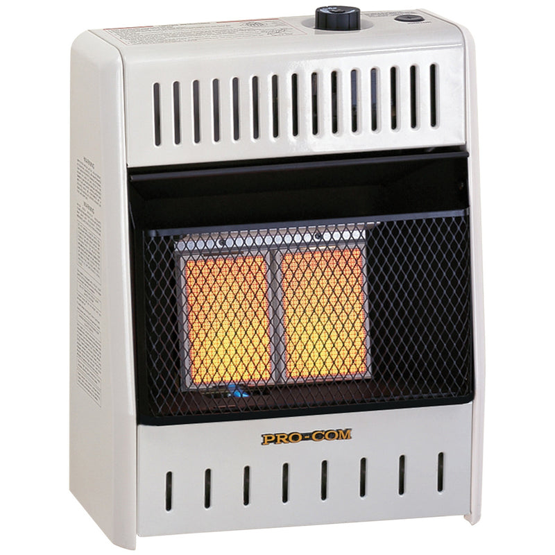 ProCom Dual Fuel Ventless Infrared Plaque Gas Space Heater - 10,000 BTU, T-Stat Control - Model