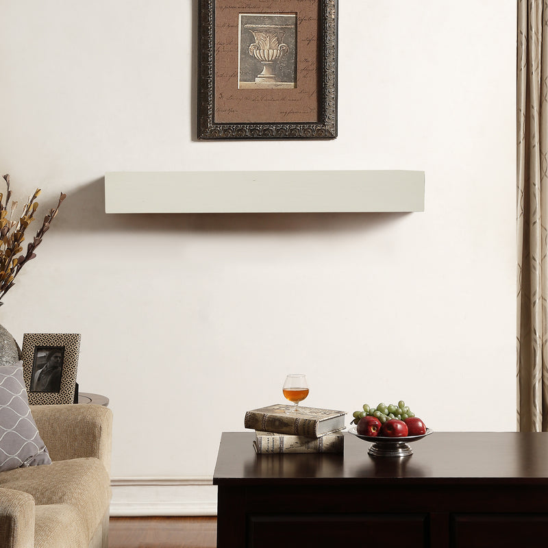 Duluth Forge 48in. Fireplace Shelf Mantel With Corbel Option Included - Antique White Finish - Model