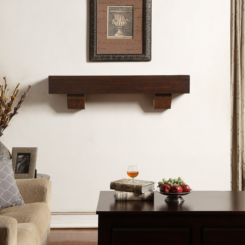 Duluth Forge 48in. Fireplace Shelf Mantel With Corbel Option Included - Chocolate Finish - Model