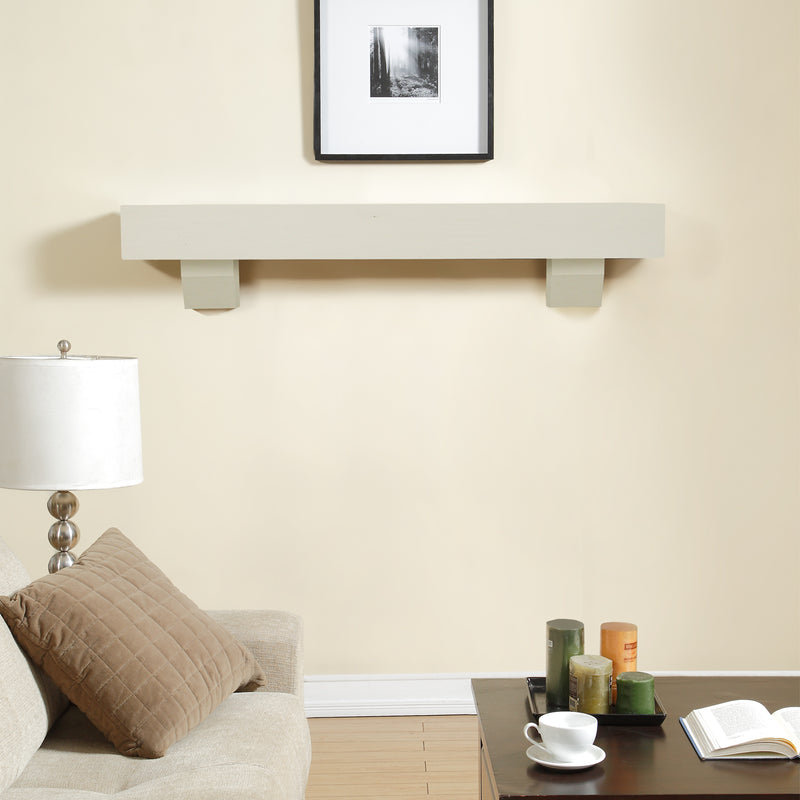 Duluth Forge 60in. Fireplace Shelf Mantel With Corbel Option Included - Antique White Finish - Model