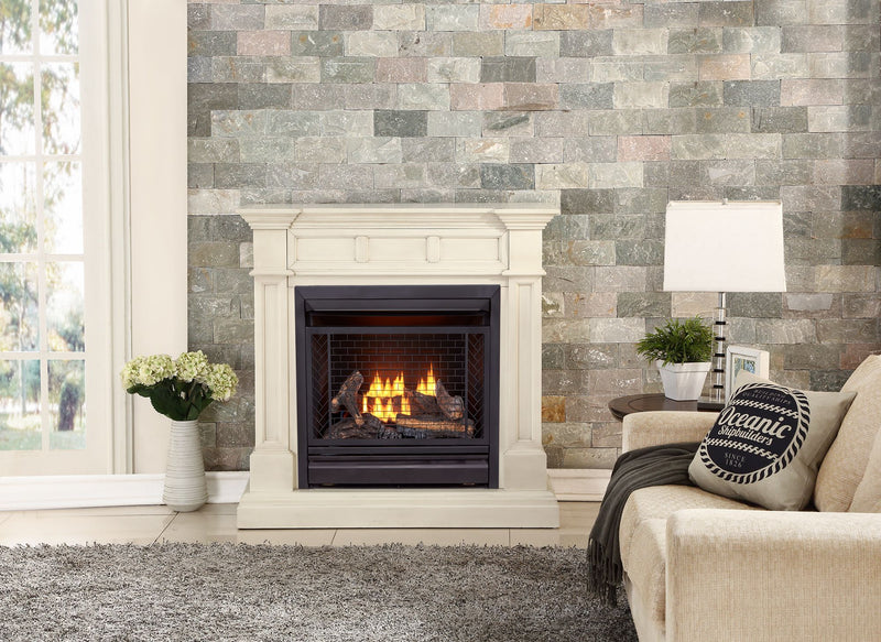 Bluegrass Living Vent Free Propane Gas Fireplace System - 26,000 BTU, Remote Control, Antique White Finish - Model