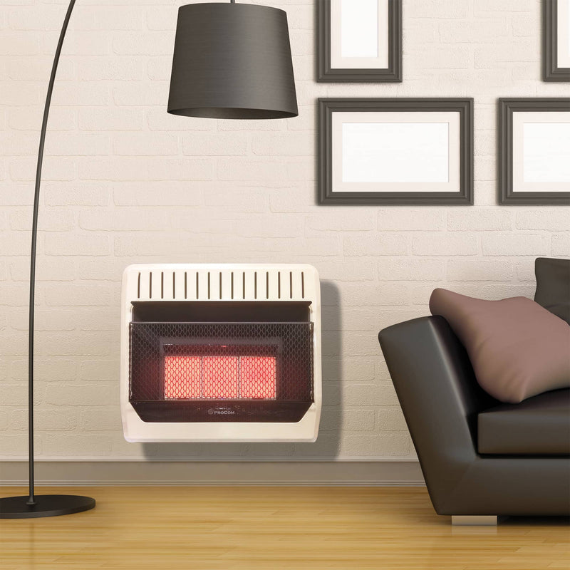 ProCom Heating Natural Gas Vent Free Infrared Gas Space Heater - 30,000 BTU, T-Stat Control - Model