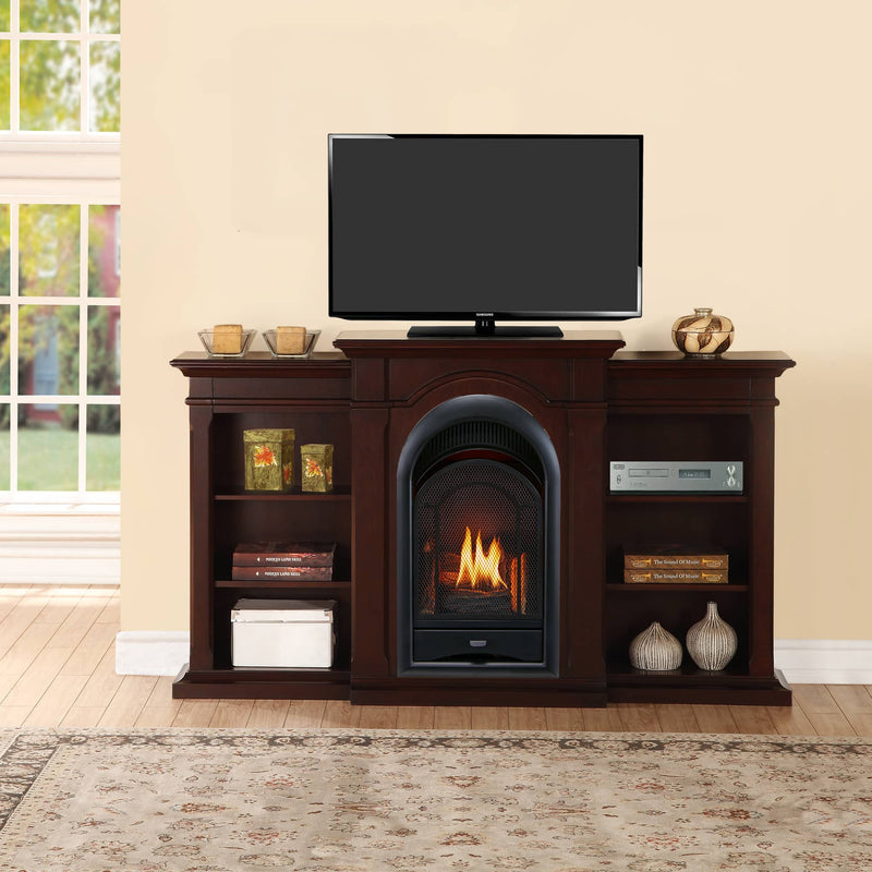 ProCom Dual Fuel Ventless Gas Fireplace System - 15,000 BTU, T-Stat Control, Chocolate Finish with Shelves - Model